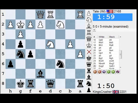 Chess World.net: LIVE Blitz #1989 vs Tate (2168) IM - English/Reti Opening - Scalp alert!
