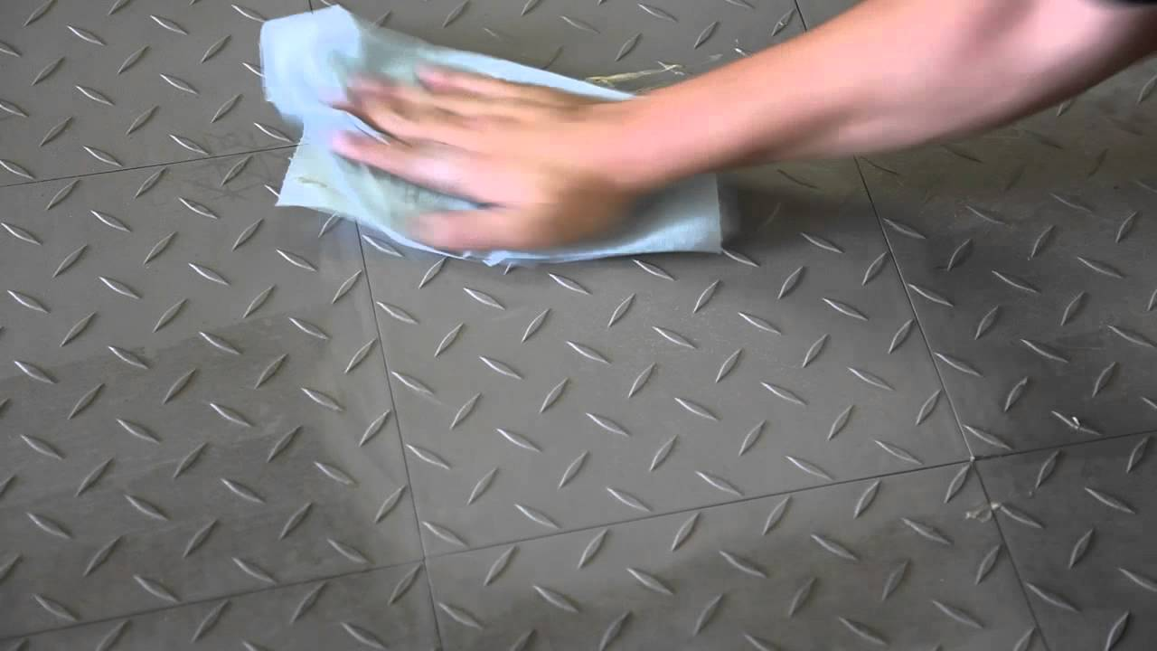 Cleaning Garage Floor Tiles By Hand Youtube