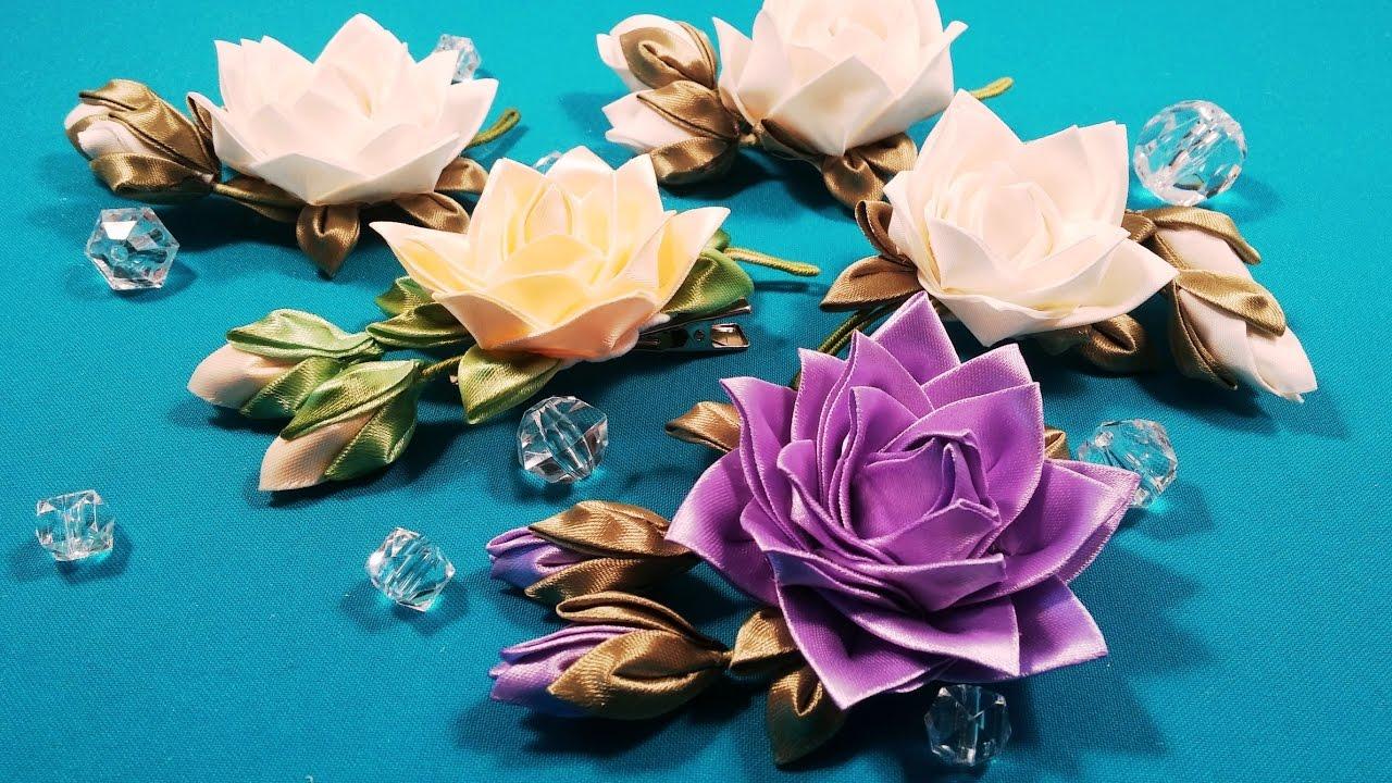 Цветы из ткани канзаши видео 116