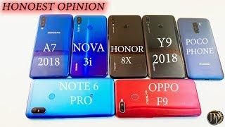 HONOR 8X VS  Galaxy A7 (2018) VS Y9(2019) VS NOVA 3i VS REDMI NOTE 6PRO VS POCOPHONE F1 VS OPPO F9 !