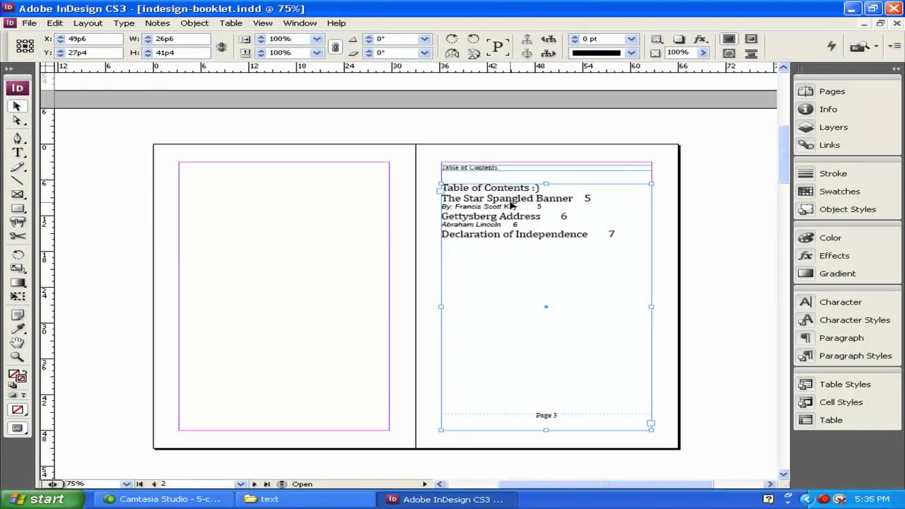 9 indesign basics creating a table of contents video 9 for Indesign table