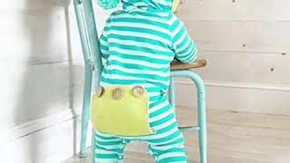 Baby Boy Girl Clothes Long Sleeve Striped Hooded Romper Jumpsuit