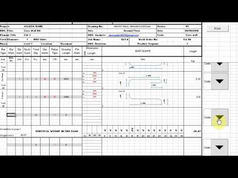 How to make bar bending schedule BS 8666 2005