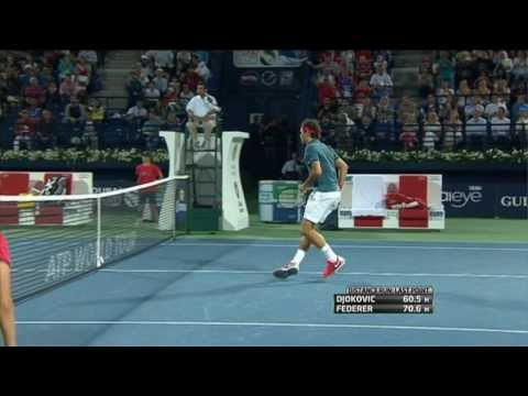 Roger Federer Hits Hot Shot In Dubai Against Djokovic