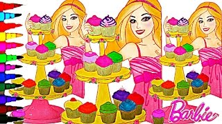 BARBIE Coloring Book Videos Rainbow Cupcakes Kids Fun Activities Learning Videos Kids Balloons Toys