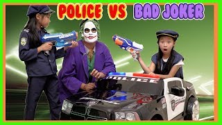 Pretend Play POLICE with Ryan's Toy Review inspired ( POLICE vs JOKER )