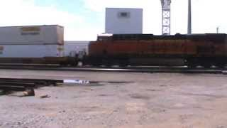 BNSF Stack train ran a red signal go's into emegency Tulsa, OK 6/13/14 vid 1 of 4