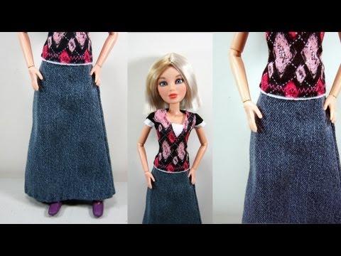 Como hacer una falda con tela jean para tu muñeca barbie, liv or blythe