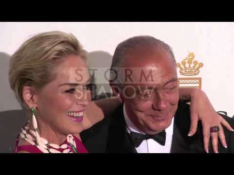 Sharon Stone and Fawaz Gruosi photocall at the De Grisogono party in Cannes