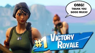 acting like a DEFAULT SKIN then CARRYING a KID to his FIRST WIN ..
