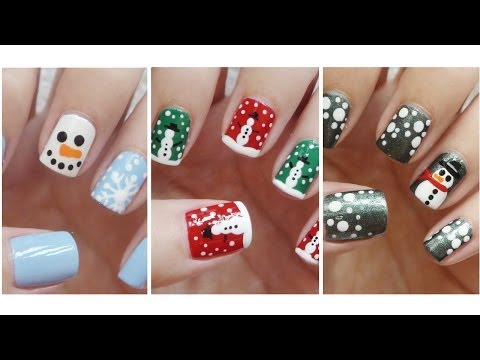 Snowman Nail Art ❄ Three Easy Designs!!! video