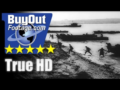 HD Stock Footage WWII D-Day Assault Normandy Invasion