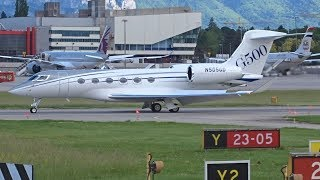 [FullHD] First Gulfstream G500 at Geneva !!! N505GD Gulfstream G500 landing & takeoff at GVA/LSGG
