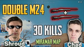 Double M24 -  Shroud and Chad win DUO FPP GAME [TEST SERVER] - PUBG HIGHLIGHTS TOP 1
