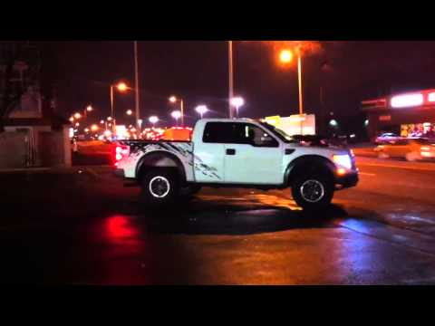 very rare insanely loud ford raptor driving down the streets of laval.