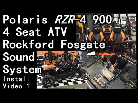 Polaris RZR 900 4 Seat ATV Rockford Fosgate 1100 Watt Sound System Install (video 1)