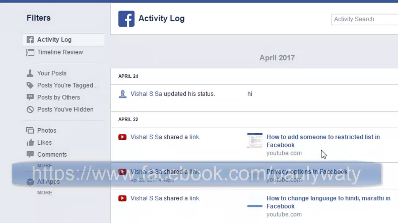 How to hide certain activity in timeline in Facebook - YouTube