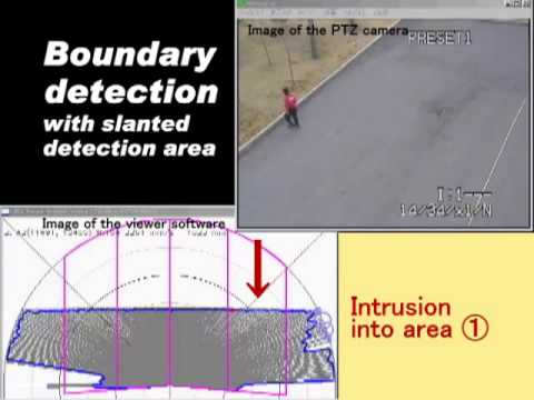 PTZ camera with Optex Redscan RLS 3060 Intrusion Detection Outdoors - Slanted installation