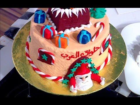 طريقة عمل كيكه الكريسماس على طريقة الشيف #قدري  من برنامج #حلواني_العرب #فوود