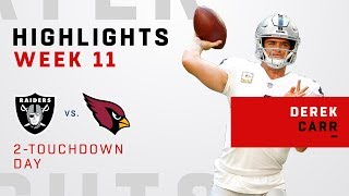 Derek Carr Highlights vs. Cardinals