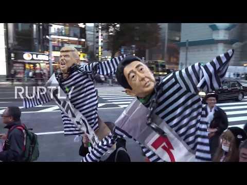 【労組】反アベトランプ抗議デモ、トランプ大統領と安倍首相の首を紐でくくって釣る「米日韓による 朝鮮戦争とめよう!」韓国労組も参加 @東京・日比谷