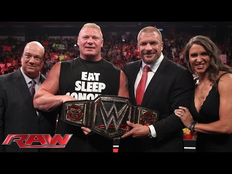 Brock Lesnar Receives The New Wwe World Heavyweight Championship: Raw, Aug. 18, 2014 video