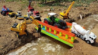 Build Block Bridge For Kids | Excavator Dump Truck Crawler Crane Road Roller Tractor