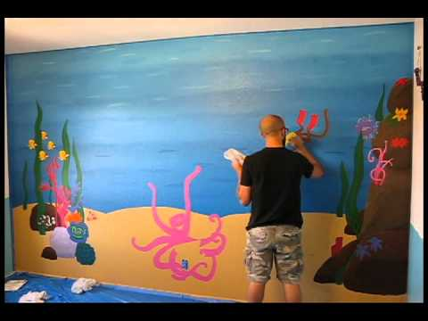 Underwater mural easy street art company time lapse for Easy mural painting