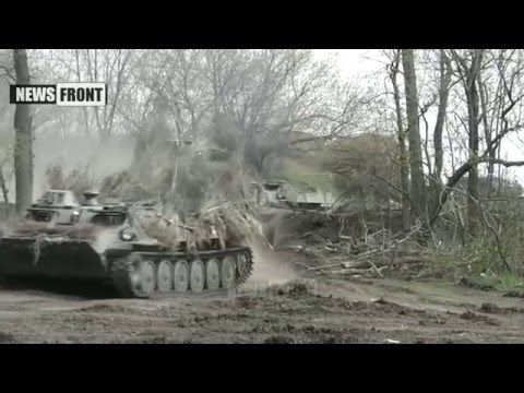 April 16 2016 Donetsk DPR People's Brigade Militia Army Conduct Fire Military Exercises Preparation