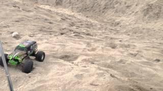 RC monster trucks at beach