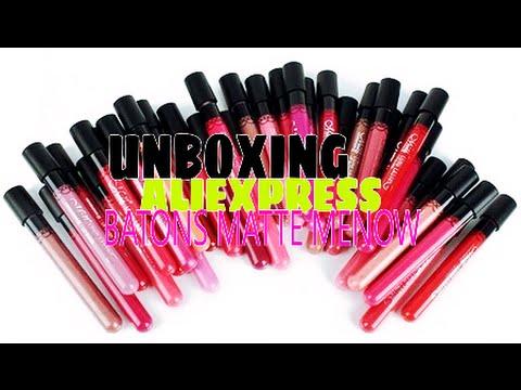 Unboxing AliExpress - Batons Mate Menow lip gloss á prova d'água