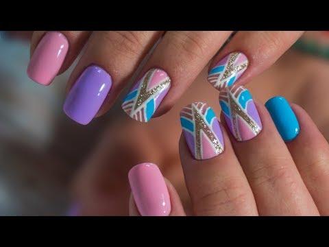Геометрический маникюр. Как нарастить ногти. Nail design 2018