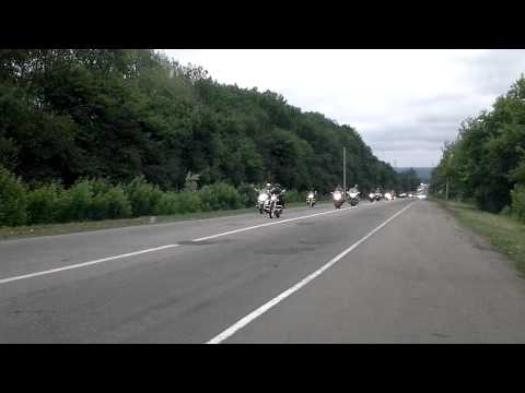 Bikers parade on the highway Rostov - Kharkov
