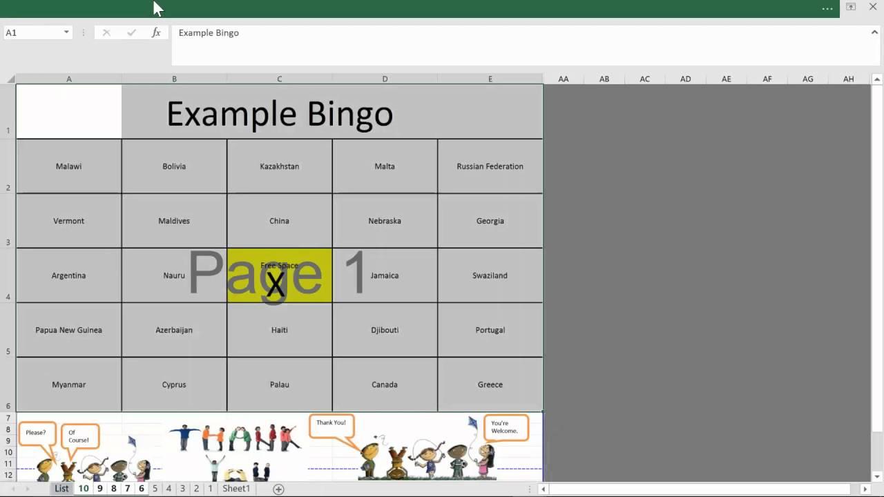 Bingo Template Excel