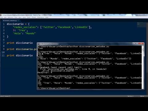 Tutorial Python 18: Diccionarios y sus métodos