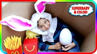 I MAILED MYSELF to Ryan the Easter Bunny! Pretend Play McDonalds Toys (Skit) - SuperBaby Colors