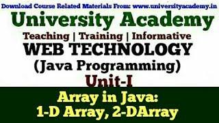 L16:Web Technology,Java Programming for Beginner,Array in Java,One-Dimensional,Multidimensional