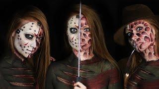 Freddy vs. Jason Makeup Tutorial (Clothes Painted On!) | Slasher Masher