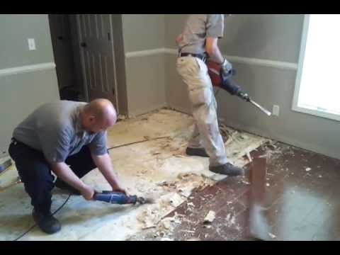 Removing Glued Down Wood Floor From Concrete Youtube