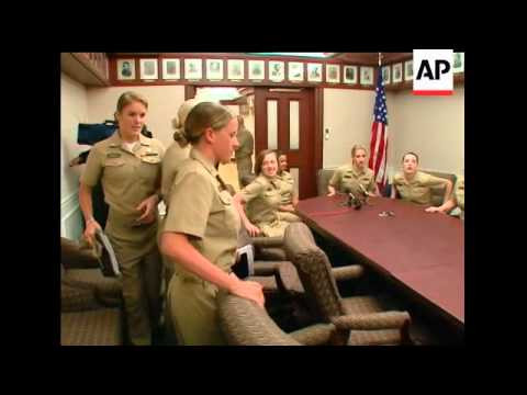The first female U.S. Naval Academy graduates who will be able to serve as officers aboard submarine