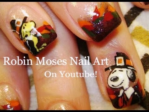Snoopy and woodstock thansgiving nail art