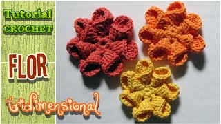 DIY Flor tridimensional o 3D - Tutorial Crochet