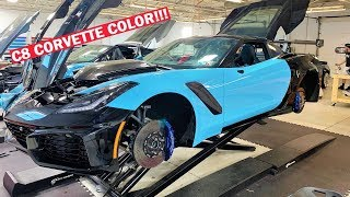 "WE FOUND THE PAINT CODE FOR C8 CORVETTE ""RAPID BLUE""... And We're Wrapping My ZR1!!!"