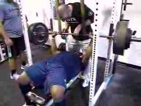 WWW.DEFRANCOSTRAINING.COM - UCONN's Deon Anderson preparing for the NFL combine. 475lbs Recerse Band Bench.
