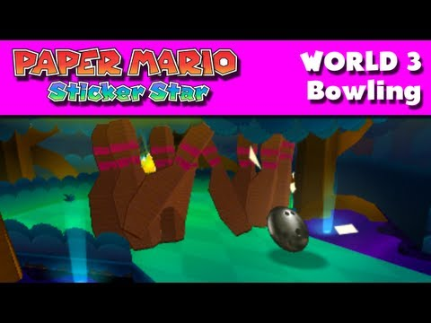 Paper Mario Sticker Star - World 3 - Bowling (Nintendo 3DS Gameplay Walkthrough)