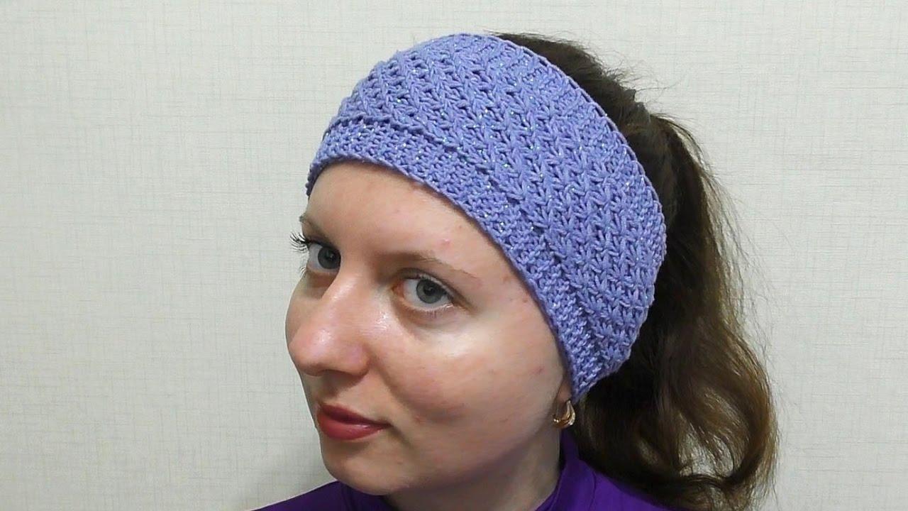 Вязание ободок для головы спицами 239