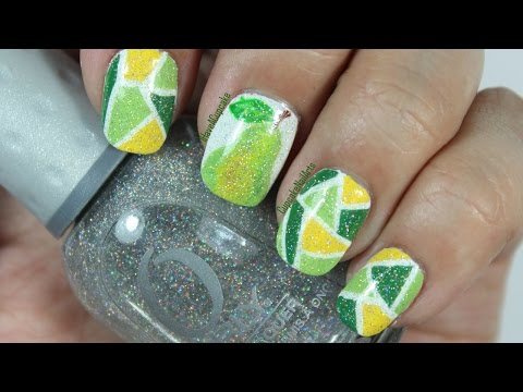 Mosaic Pear Nail Art