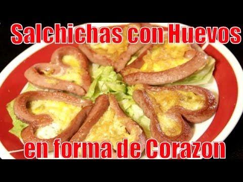 Salchichas con Huevos | En Forma de Corazon - Recetas en Casayfamiliatv