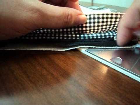 Como colocar ziper em bolsa com forro