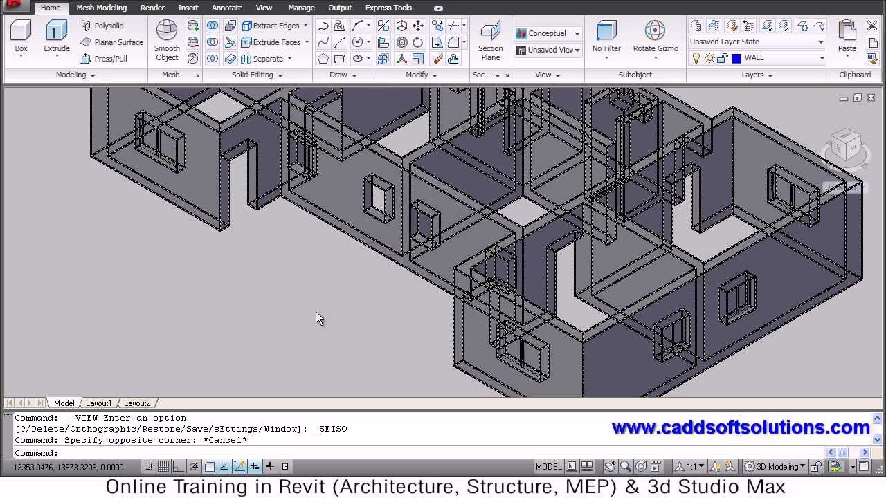 Autocad 3d house modeling tutorial 3 3d home 3d for In plan 3d